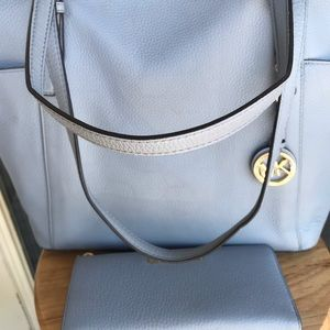 Michael Kors Bags - Michael Kors Powder Blue Jet Set Tote and Clutch